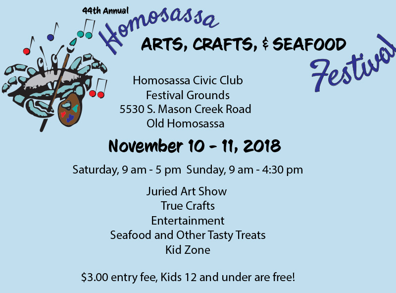 Homosassa arts crafts and seafood festival homosassa fl for Arts and crafts shows in florida